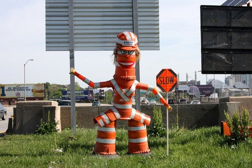 Lady Traffic Barrel Monster, You Are Kind Of Creeping Us Out