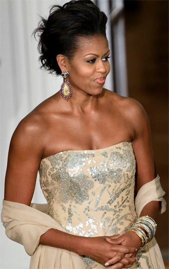 Michelle Obama Wears Naeem Khan, Orders French Thigh-High Boots