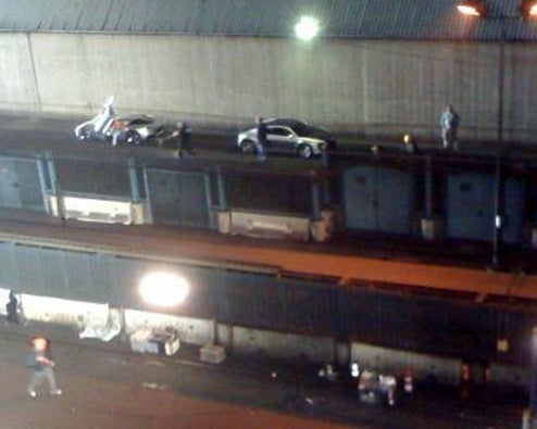 "New Set Pics From Transformers 2 Show Audi R8 Buddying Up With ""Corvette Concept"""
