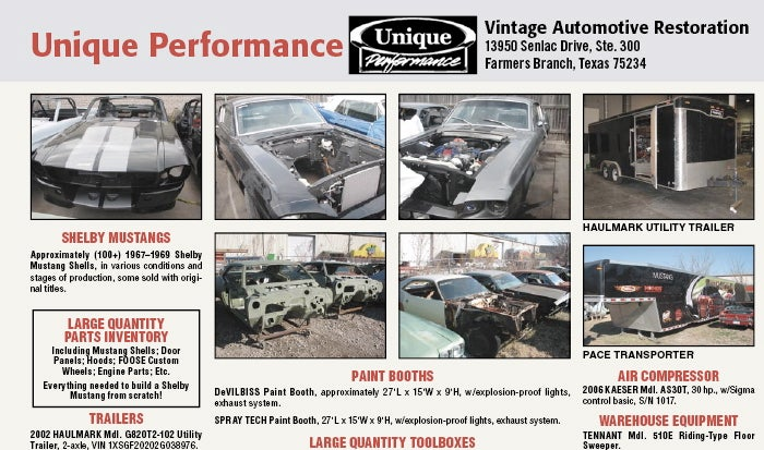 Unique Performance Assets, Hundreds Of Shelby Mustang Shells Going Up For Auction