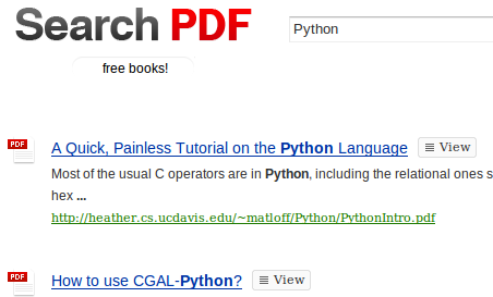 Search PDF Finds and Opens PDF Books and Tutorials