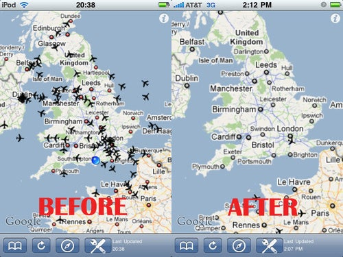 UK Air Traffic Before And After Icelandic Volcano Eruption