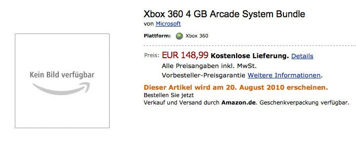 The New Xbox 360's Arcade Version Detailed By Amazon