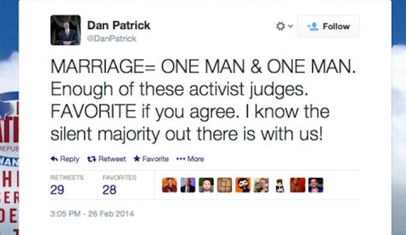 Republican Texas State Senator Thinks Marriage = One Man & One Man