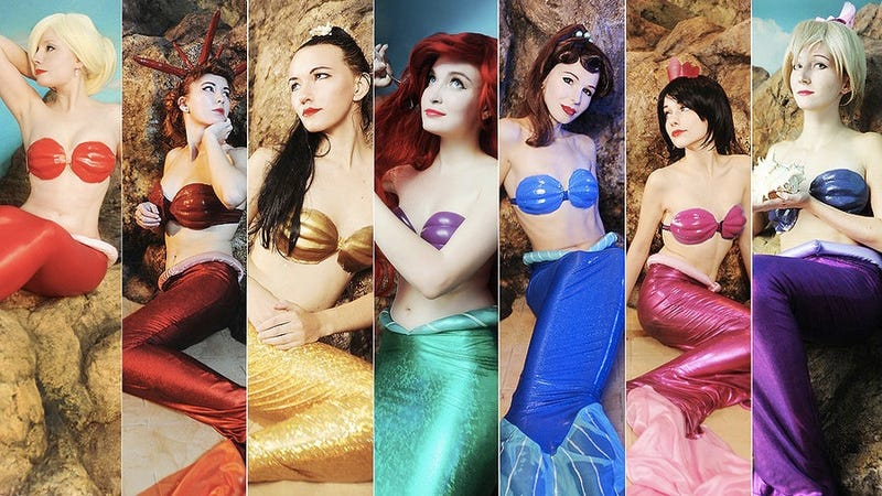 Behold the amazing rainbow-colored cosplay of Ariel and her sisters