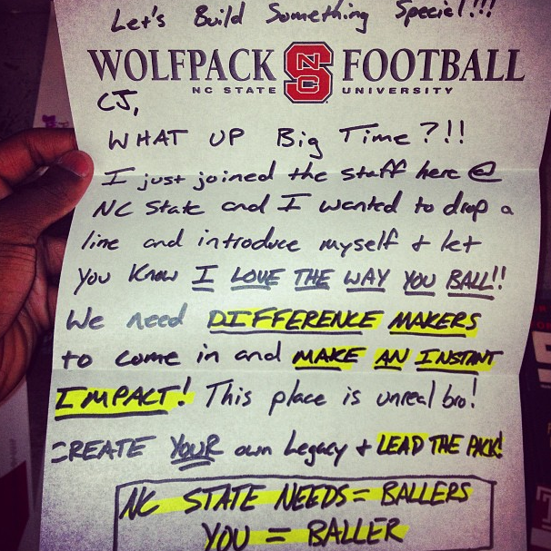 """""""I LOVE THE WAY YOU BALL"""": This N.C. State Recruiting Letter Is Insane (UPDATE: It's A Form Letter)"""