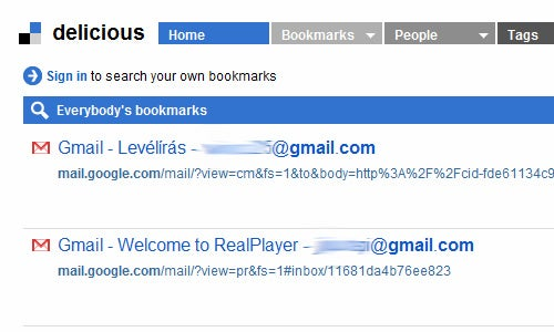 Notice: Bookmarking Gmail on Delicious or Google Bookmarks Publicly Displays Your Email Address