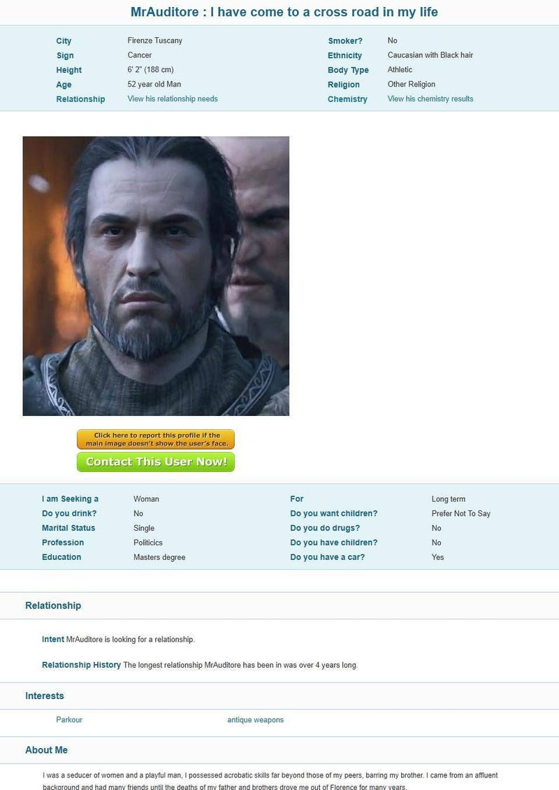 Ezio Is Trolling Dating Sites. He's Very Good.