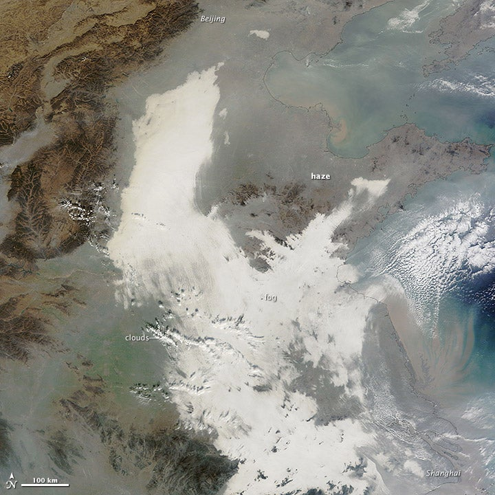 China's air pollution as seen from space