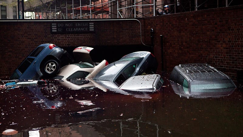 Sandy Flooding Floats Cars out of Lower Manhattan Parking Garage