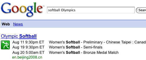 Google Search Provides Olympic Event Schedules Inline