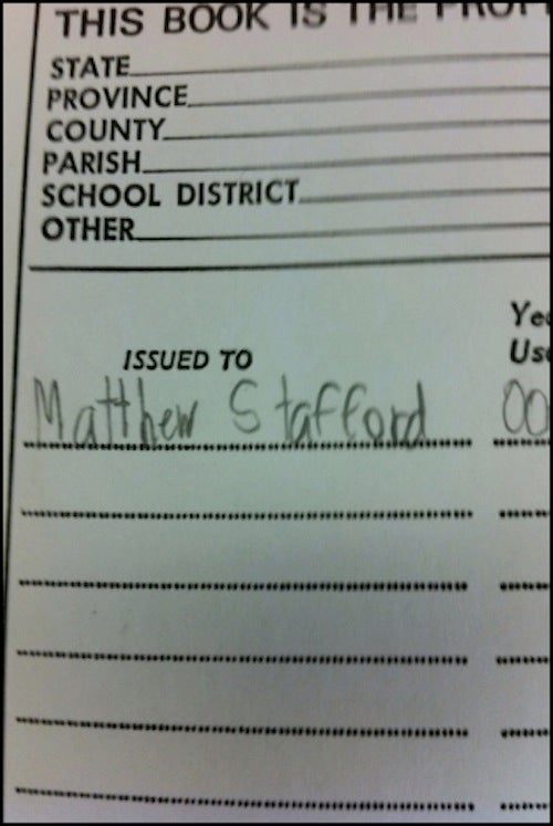 Young Matthew Stafford Had Immaculate Handwriting