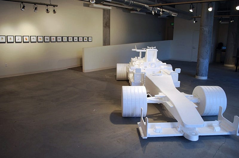 Artist Creates Life-Size F1 Car Out Of Styrofoam
