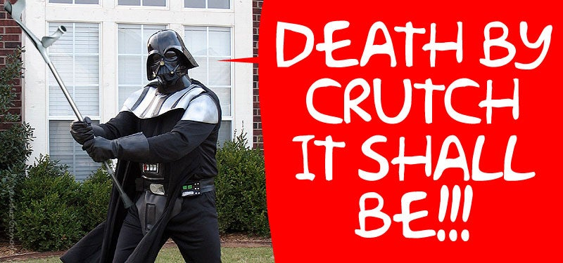 drunk darth vader guy attacks group with a crutch.