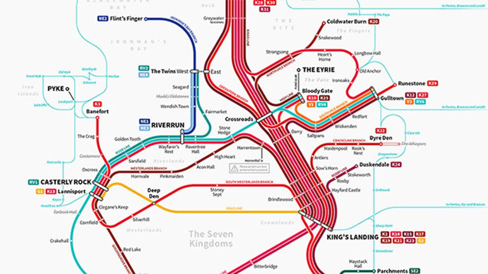 Game Of Thrones Subway Map Is A Handy Guide To Westeros Travel