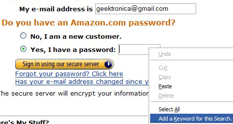 Automatically log in with Firefox keyword bookmarks