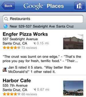 Google Places Shows Nearby Spots Quickly, Now on iPhone