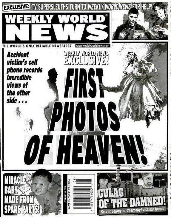 Weekly World News Exclusive! First Photos of Heaven Taken with Cellphone!