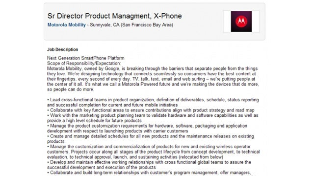 Motorola Job Listing Hints at Moto-Google X-Phone