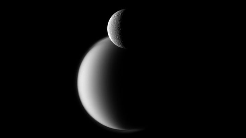 Saturn's two largest moons, captured in tandem