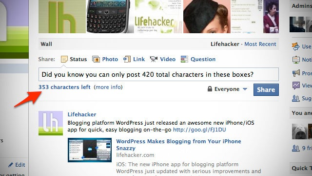 Firefox Add-On Tells You How Much More You Can Write in Facebook's Status Box