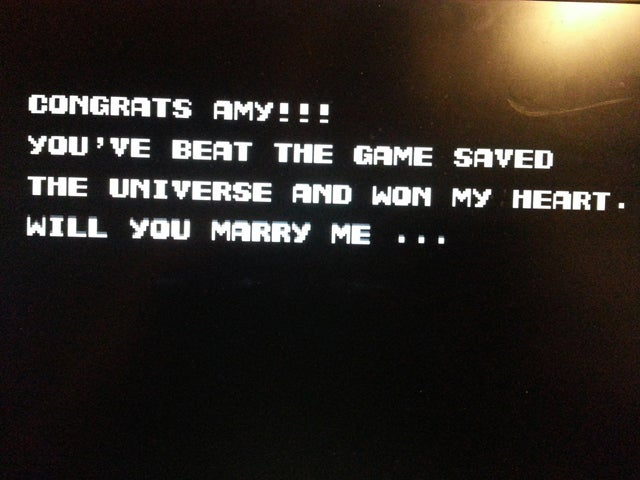 Guy Proposed By Modding Contra, But She Had To Finish It First. Ouch.