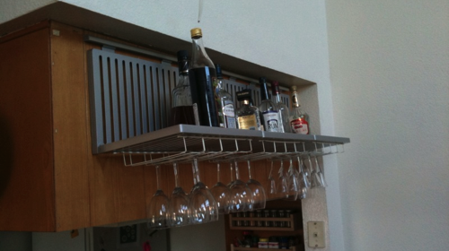 DIY Hanging Liquor Bar From IKEA Asker Rail and Dish Drainers