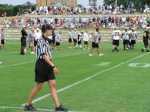 Woman Referees New Orleans Saints Practice Scrimmage...Four Horsemen Seen Trotting Nearby