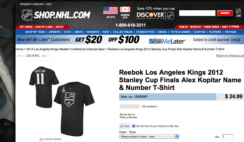 "Today In Getting To Know The Kings: Reebok Offers An ""Alex Kopitar"" Shirt"