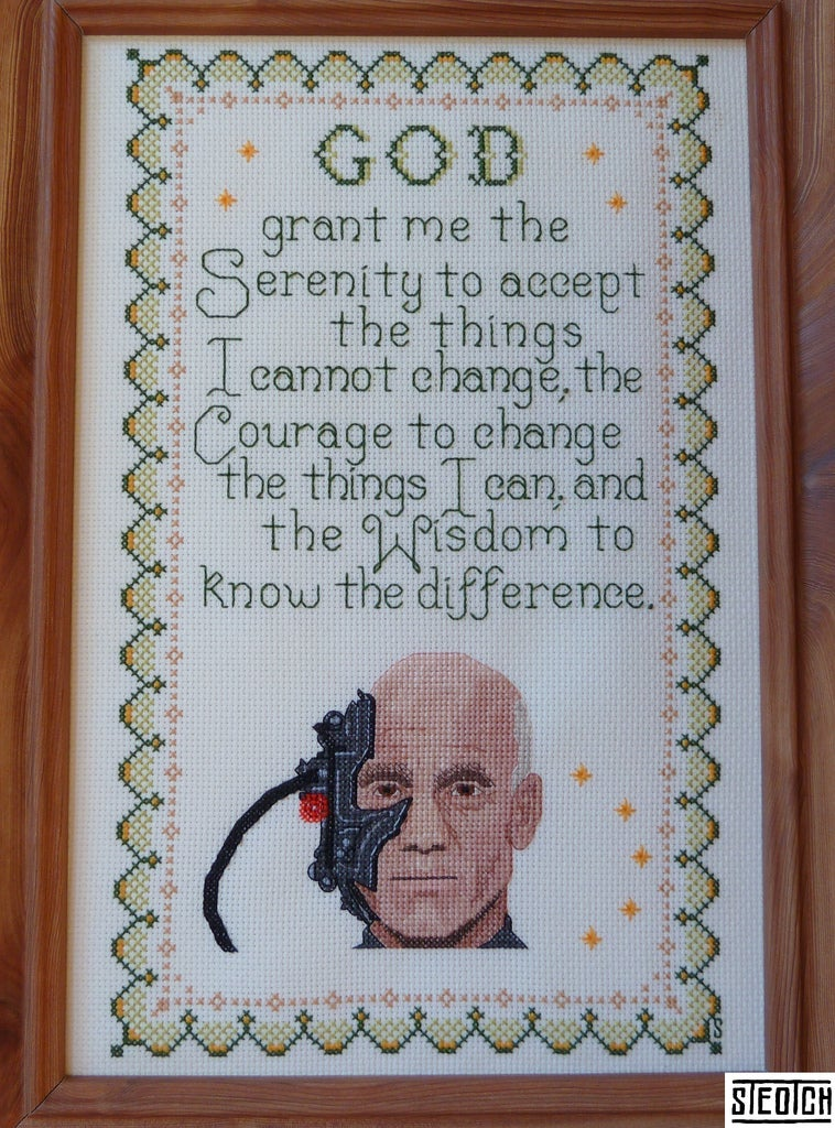 "Cross-stitched Borg serenity prayer is a kinder, gentler way of saying ""Resistance is futile"""