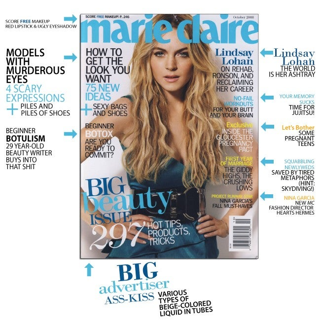 October Marie Claire: Cigs For Lindsay, Skydiving For Newlyweds, And Botox For All Ages