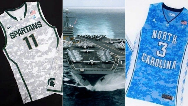 UNC And Michigan State Will Wear Ugly Camo Uniforms In Game On Aircraft Carrier