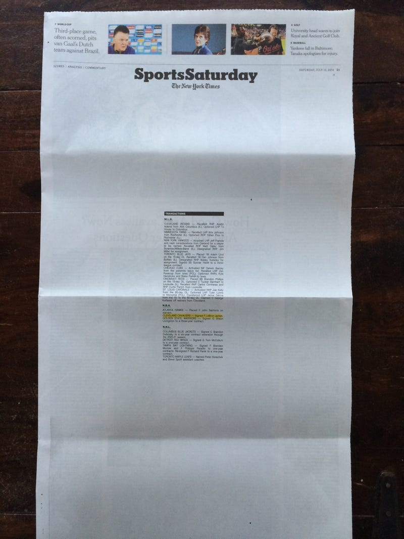 Today's LeBron Cover Of The New York Times Sports Section Is Awesome