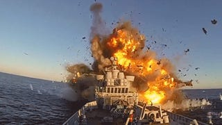 Spectacular video of a missile blowing up a Norwegian Navy frigate