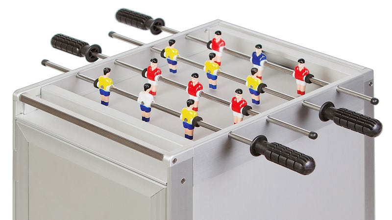 Brilliantly Compact Foosball Tables Made From Airplane Food Trolleys