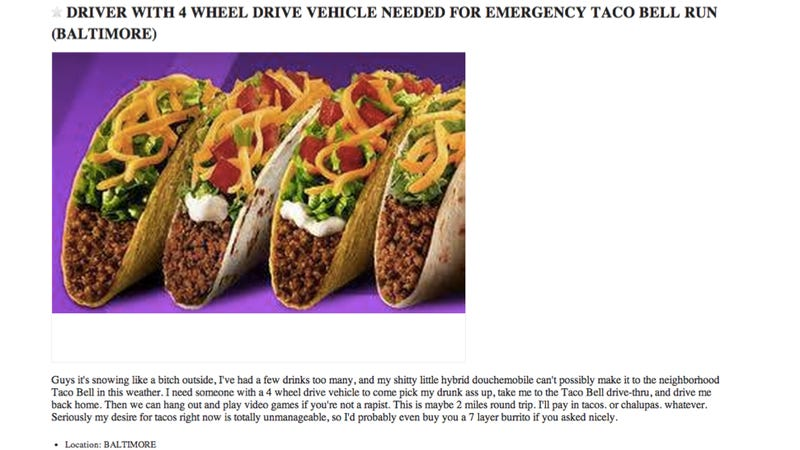 Baltimore Woman Needs Someone With All-Wheel Drive To Get Her Taco Bell