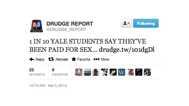 Lecherous Webmaster Matt Drudge Tortures Yale Sex Survey Number