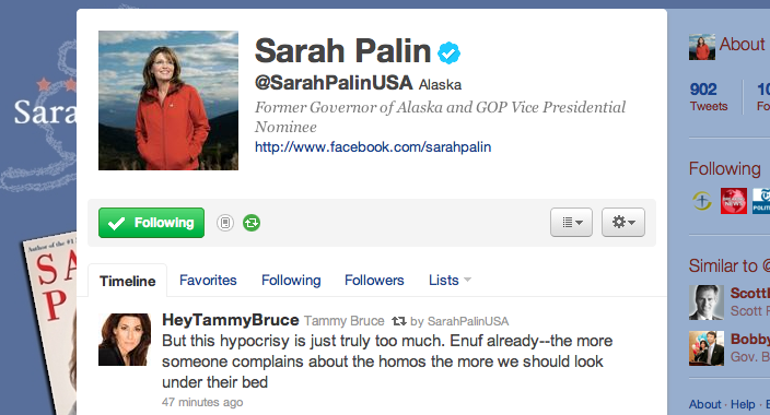 Did Sarah Palin Just Tweet Her Position on 'Homos'?