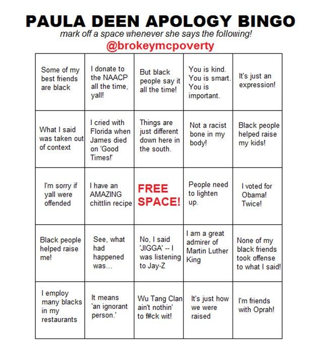 Get Ready to Play Paula Deen Apology Bingo!