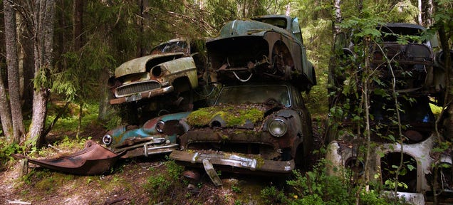Get Lost In Europe's Largest Car Cemetery Hidden In The Swedish Woods