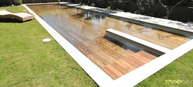 Magic floor sinks into the ground to transform into an outdoor pool