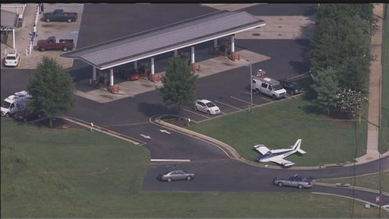 Out-Of-Fuel Plane Emergency Lands At Local Gas Station