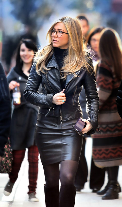 Jennifer Aniston Mixes Business With Leather