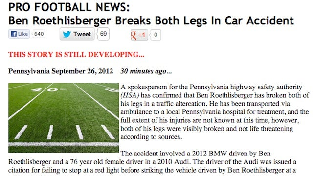 Hoax Website Fools Reporters Into Thinking Ben Roethlisberger Broke His Legs In A Car Accident