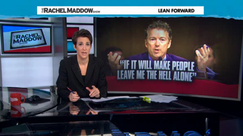 Rand Paul Threatens to Quit Politics In What Maddow Calls a 'Meltdown'
