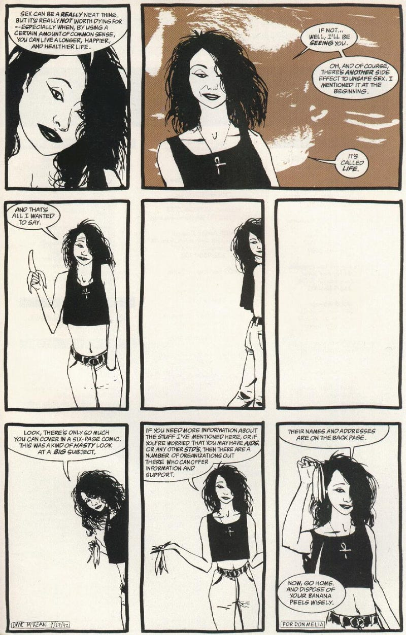 Neil Gaiman's 1994 safe sex PSA starring Death from Sandman and John Constantine