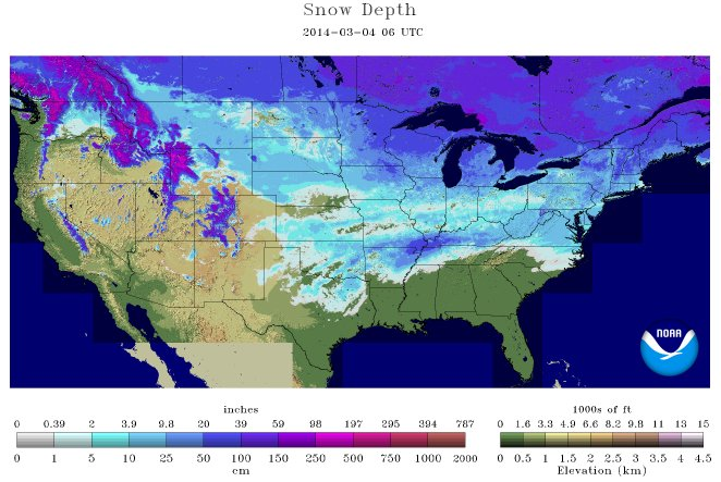 NOAA: Today's US Snow Cover Is 3rd Largest This Late in Season
