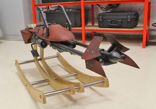 The Dad of the Year Built His Daughter a Custom Speeder Bike Rocking Horse