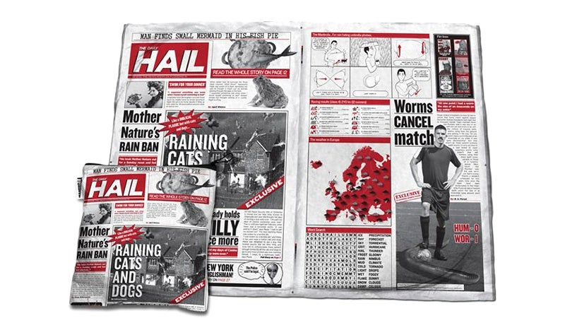 Someone Wants You To Hold This Fake Waterproof Newspaper Over Your Head Instead of an Umbrella