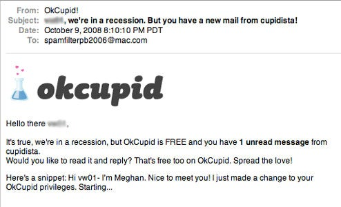 OKCupid offers recession relief